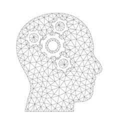 mesh brain mechanics icon vector image