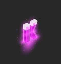 Mockup logo k letter isometric shape glossy pink vector