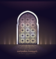 Mosque door with lights and pattern shape vector
