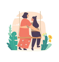 Mothers day concept mom and girl embrace sitting vector