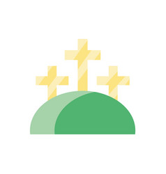 Mountain with three crosses colorful and flat vector