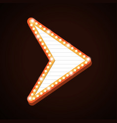 night club billboard retro arrow light frames vector image