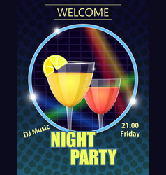 Night party invitation card vector