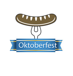 oktoberfest blue ribbon sausage on the fork vector image