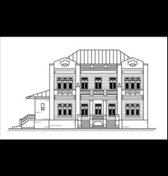 old building black and white vector image