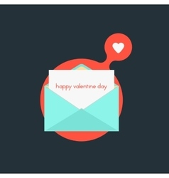 open envelope with happy valentine day on red vector image