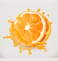 Orange juice fresh fruit 3d icon vector