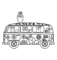 Owl bird with feathers hat and van bohemian style vector