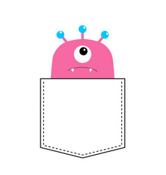 Pink monster silhouette in pocket looking up vector
