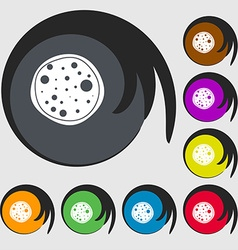 Pizza Icon Symbols on eight colored buttons vector image
