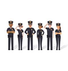 Police men and women vector