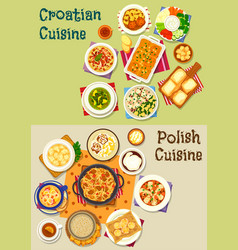 Polish and croatian cuisine icon set food design vector