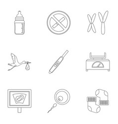 Pregnancy icons set outline style vector