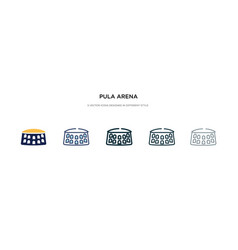 Pula arena icon in different style two colored vector