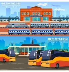 Rail network or link and bus station vector
