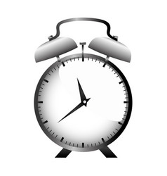 Realistic graphic with gray alarm clock vector