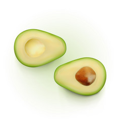 Realistic two slices of avocado isolated on white vector