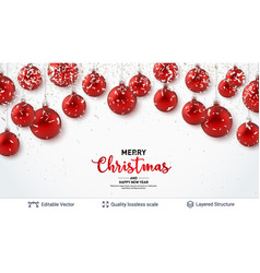 red christmas balls and text on light background vector image