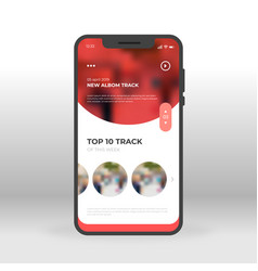 red music tracks ui ux gui screen for mobile apps vector image
