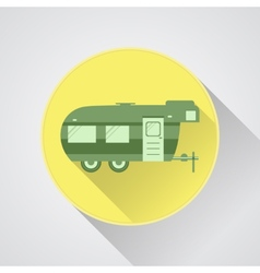 RV camping icon logo and badge Caravan button in vector