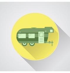 Rv camping icon logo and badge caravan button vector