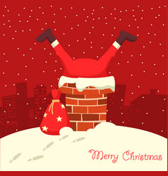 Santa claus stuck in chimney in christmas vector
