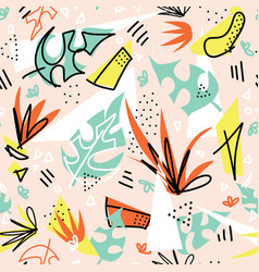 seamless pattern tropical plants and shapes vector image