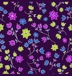seamless pattern with hand-drawn gentle flowers vector image