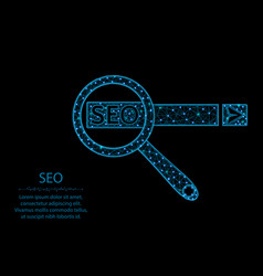 Seo low poly design magnifying glass in polygonal vector