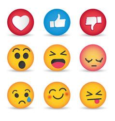Set emoticon social media reactions vector