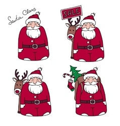 Set of four characters Santa Claus vector image