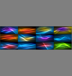 set of glowing neon particles waves vector image