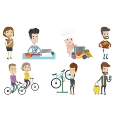 Set of people eating and traveling vector