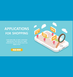 shopping apps banner web template vector image