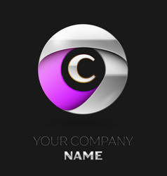 Silver letter c logo in the silver-purple circle vector