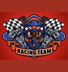 Skull wearing motocross helmet racing team vector