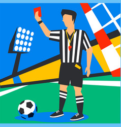 Soccer referee showing red card football world vector