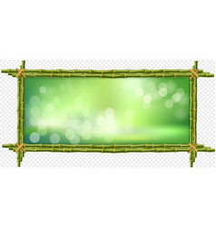 Square green bamboo sticks border frame with vector