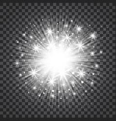 sunburst in silver color on transparent vector image