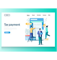 Tax payment website landing page design vector