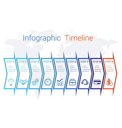 timeline infographic arrows on map numbered for 9 vector image