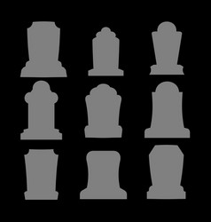 tombstone silhouette set for halloween gravestone vector image