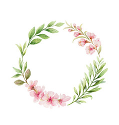 Watercolor wreath pink flowers and vector
