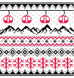 winter sports in mountains gondolas ski pattern vector image