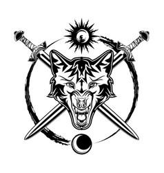 Wolf sword sun moon vector