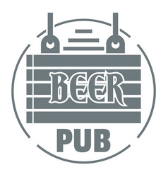 wood board beer pub logo simple gray style vector image