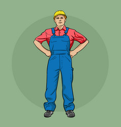 Worker in overalls and a helmet vector
