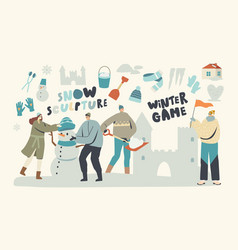 Young characters making sculptures snow castle vector