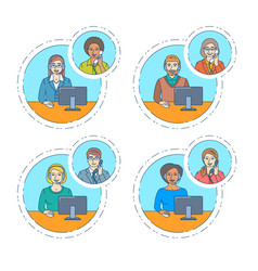 call center agent talk on the phone with customer vector image