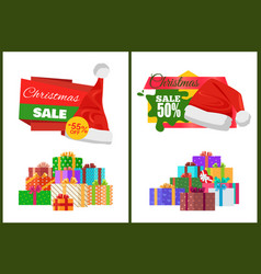 christmas sale cards on half price off stickers vector image
